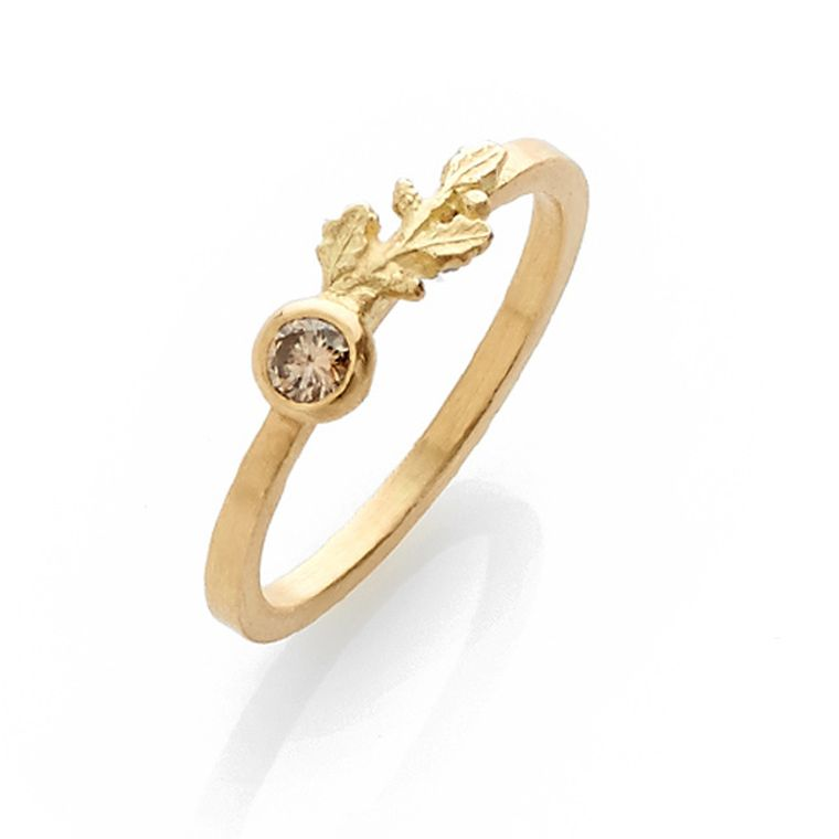Beth Gilmour engagement ring in yellow gold with a minx brown diamond and leaf motif.