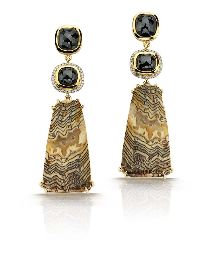 Pamela Huizenga gold earrings with fossilized Sequoia, 8.68ct rose-cut black diamonds and full-cut white diamonds ($11,200).