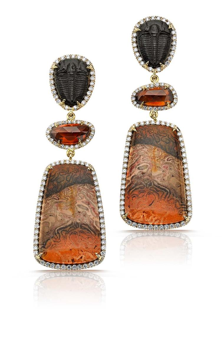 Pamela Huizenga earrings with fossil trilobites and 4.47ct of pink zircon and 23.48ct of xaxim, all surrounded by diamond pavé ($15,600).