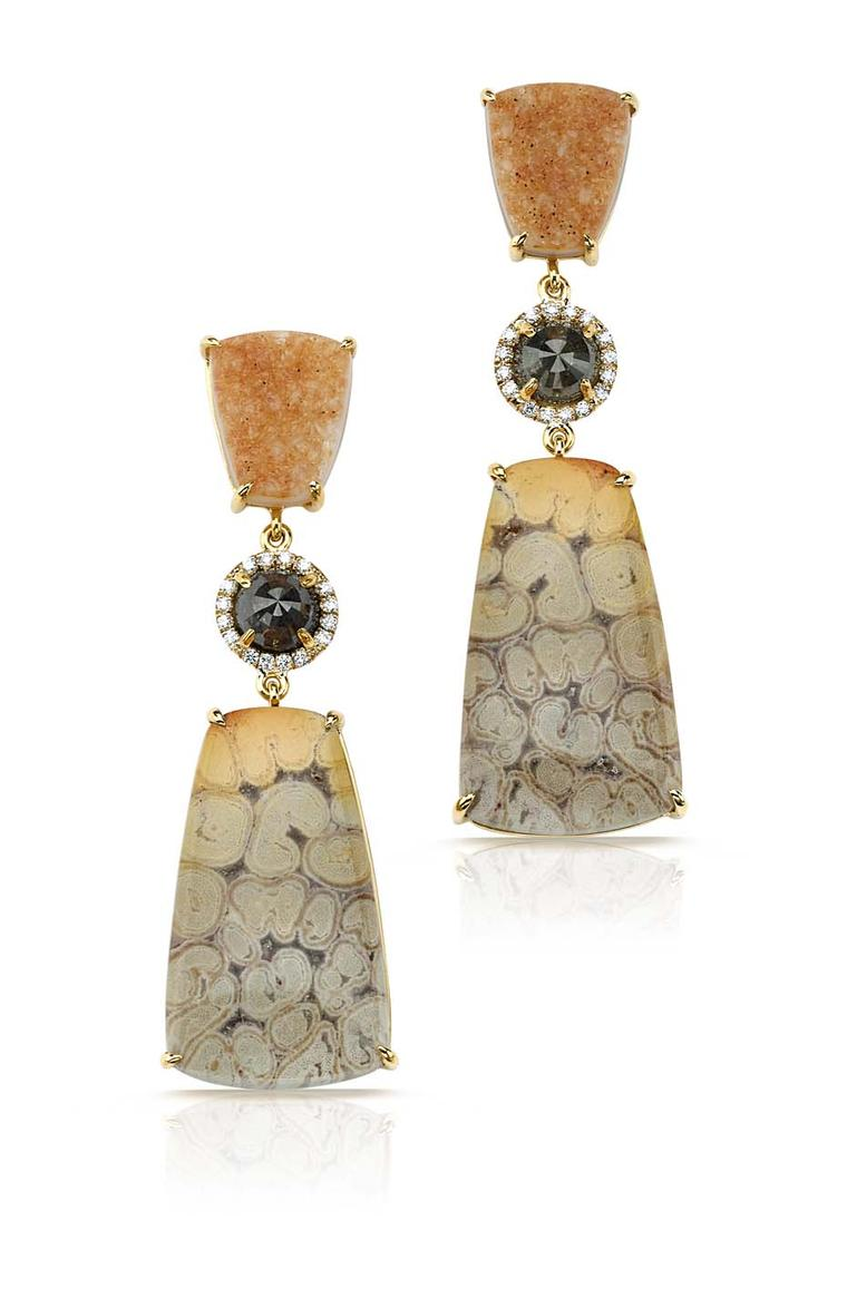 Pamela Huizenga earrings with fossilized coral, sapphires and diamond pavé.