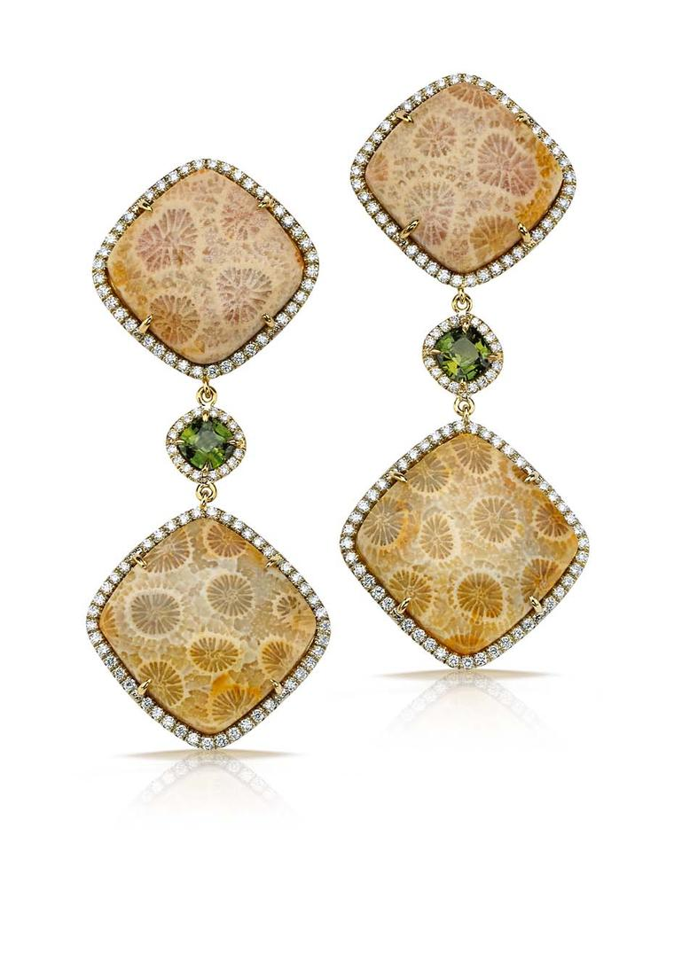Pamela Huizenga earrings with 37.45ct of fossilized coral and green sapphires, all surrounded by a diamond pavé frame ($17,200).