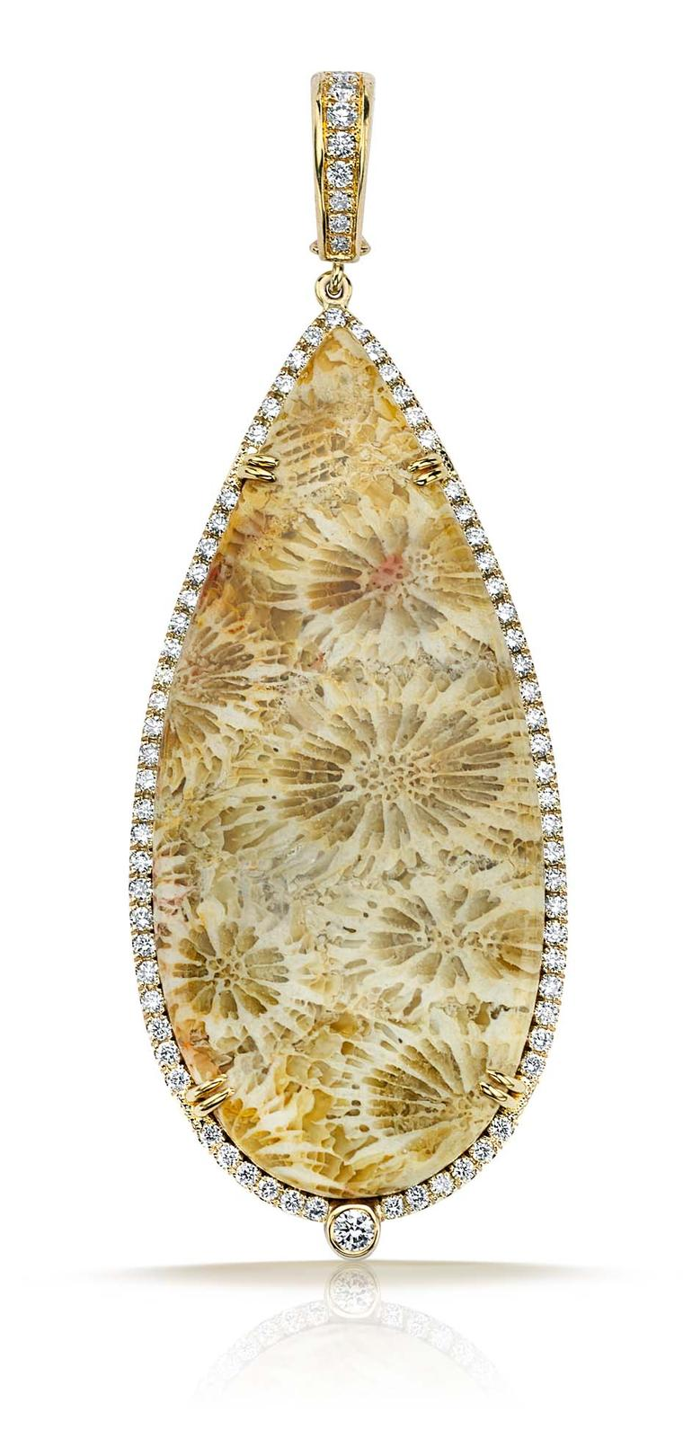 Pamela Huizenga gold pendant with 43.51ct of fossilzed coral outlined in a diamond pavé ($12,000).