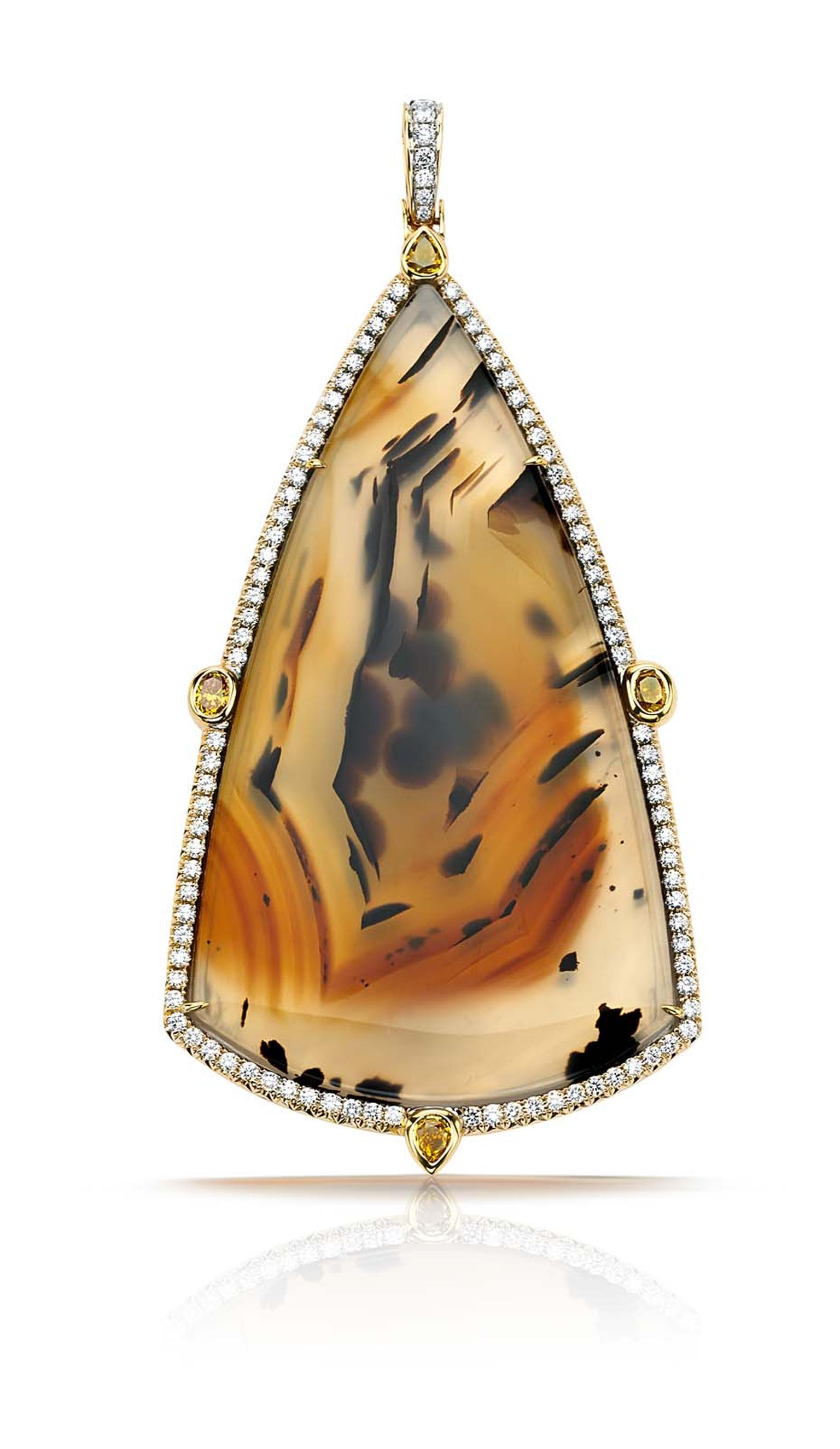 Pamela Huizenga gold pendant with an 82.70ct triangular Montana agate and a diamond pavé frame and four fancy colored diamonds ($23,500).