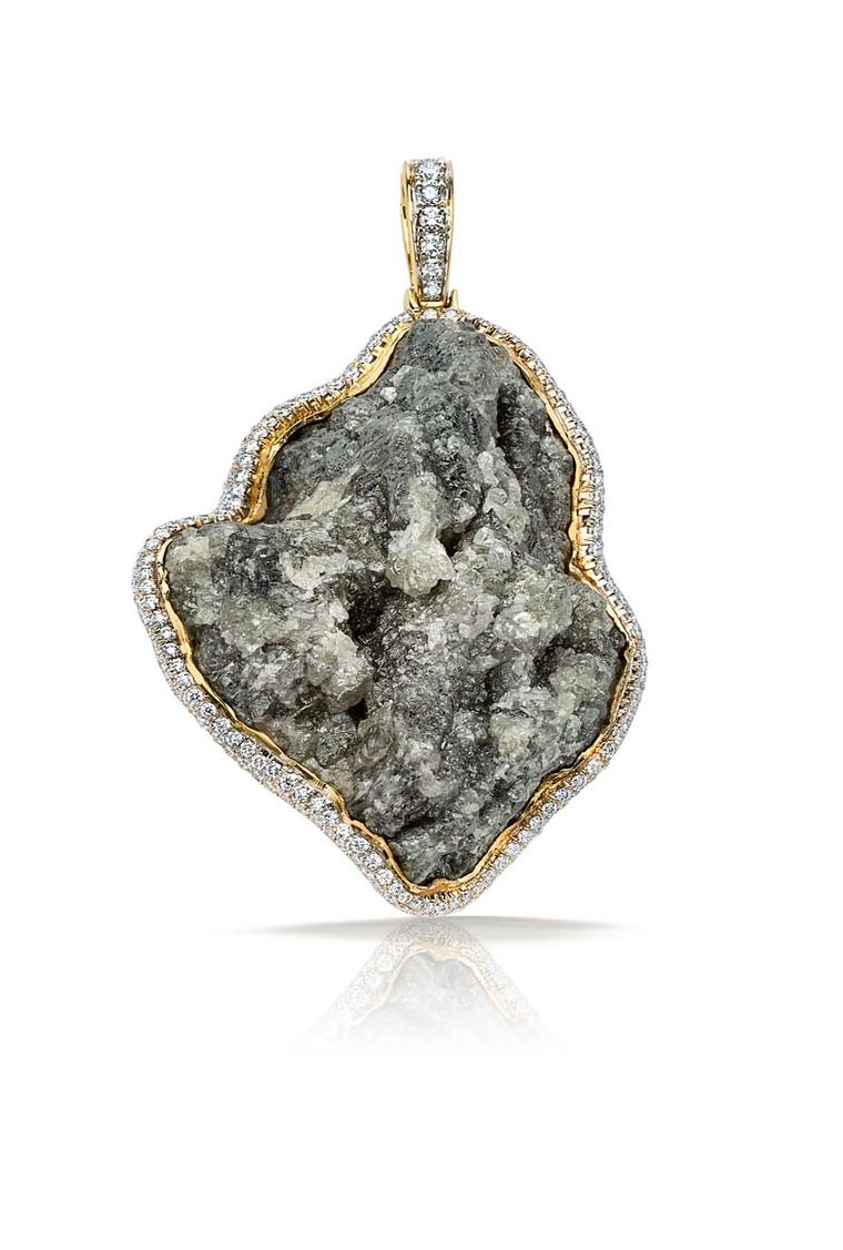 Pamela Huizenga gold pendant with a 152.90ct central diamond conglomerate set with a white diamond pavé frame ($51,600).