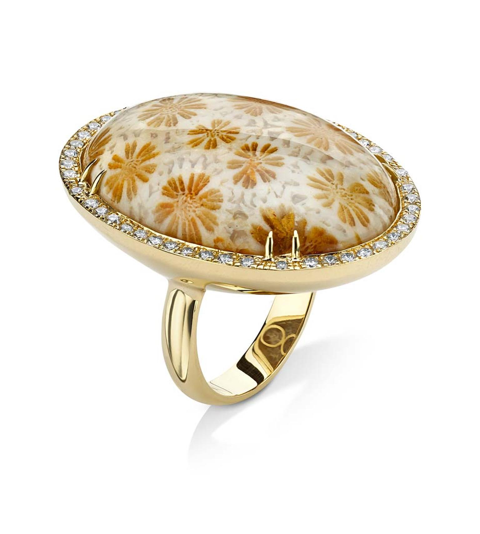 Pamela Huizenga gold ring with a 34.10ct fossilzed coral surrounded by a diamond pavé frame ($10,400).