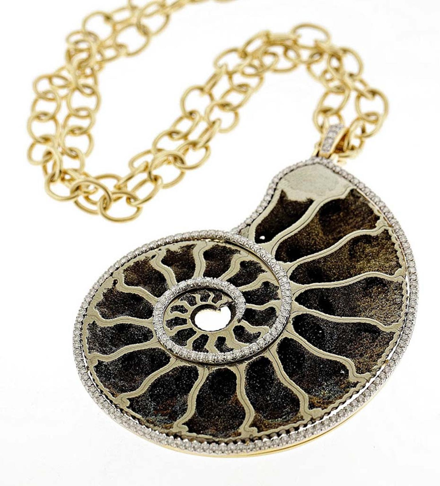 Pamela Huizenga gold pendant with a 111.71ct ammonite fossil in pyrite with an outline of pavé diamonds ($25,000).