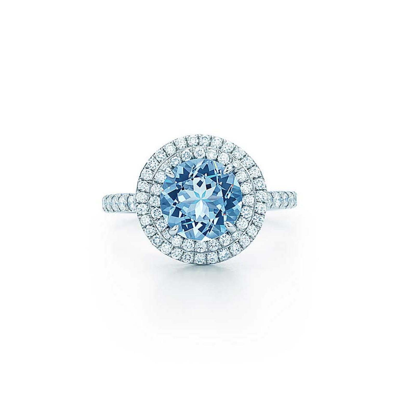 Tiffany & Co. Soleste platinum ring featuring a 1.25ct aquamarine and diamonds (£5,450).