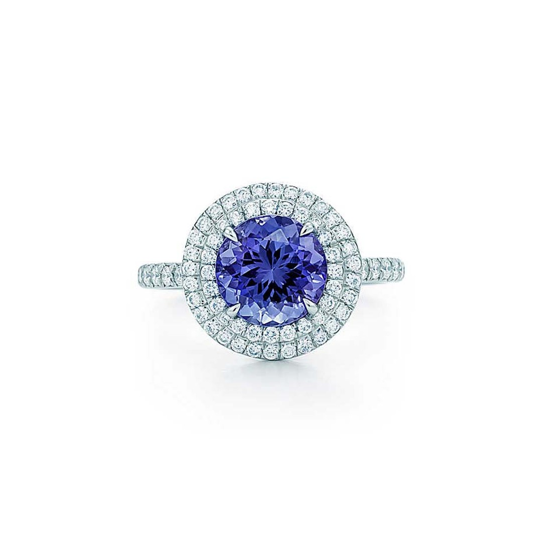 Tiffany & Co. Soleste platinum ring with a central 2.00ct tanzanite surrounded by layers of diamonds (£7,325).