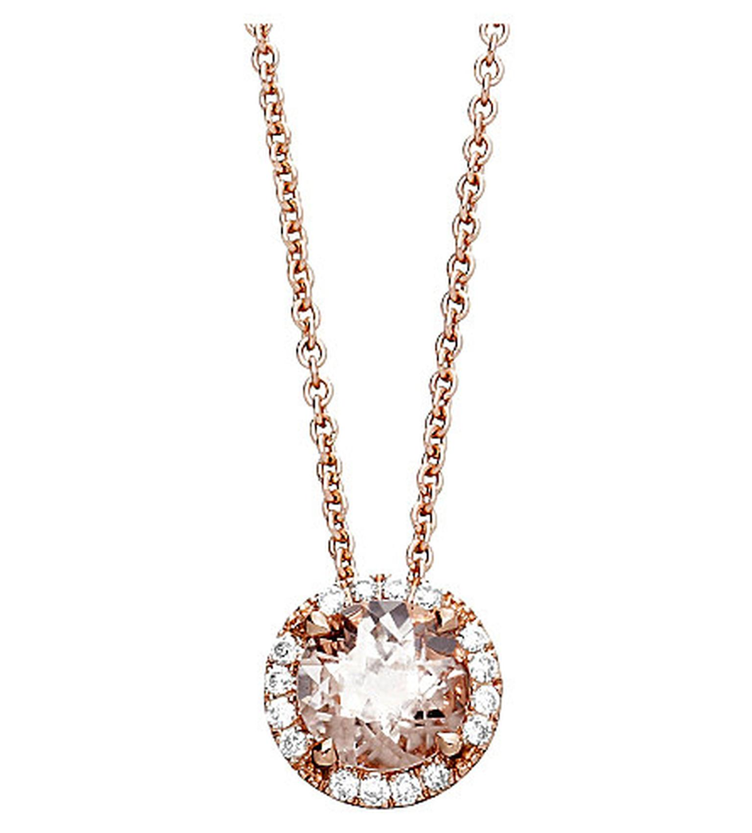 Astley Clarke Tearoom pendant featuring a round-cut morganite surrounded by diamonds set in rose gold (£1,250).