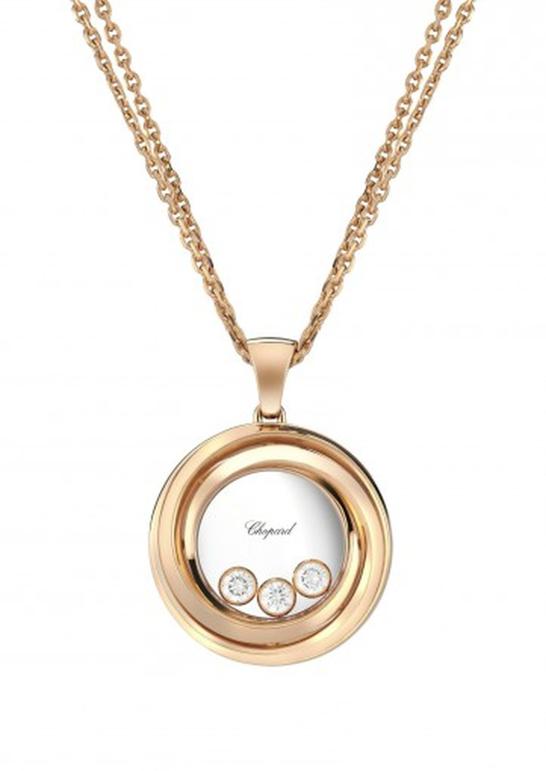 Chopard Happy Hearts Emotions rose gold necklace with three free floating diamonds.