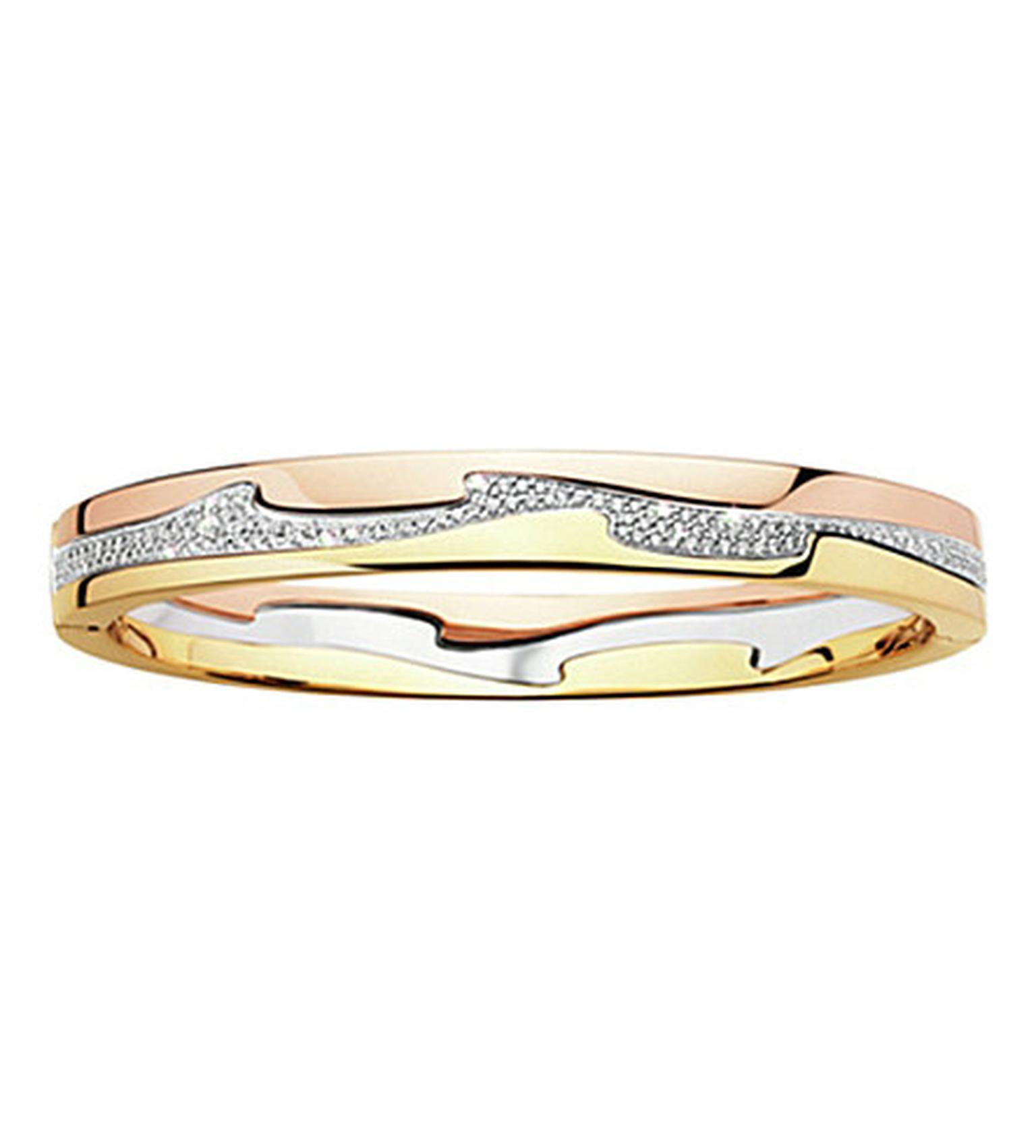 Georg Jensen Fusion bangle with yellow, white and rose gold and a melée of diamonds (£5,025).