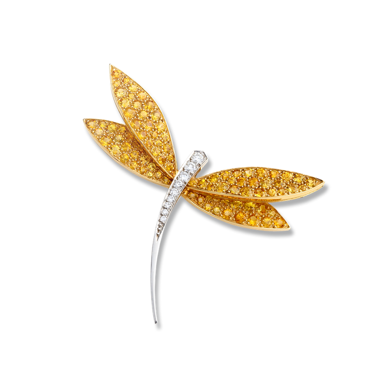 Van Cleef & Arpels white gold Dragonfly clip with yellow sapphires and diamonds (£13,300).