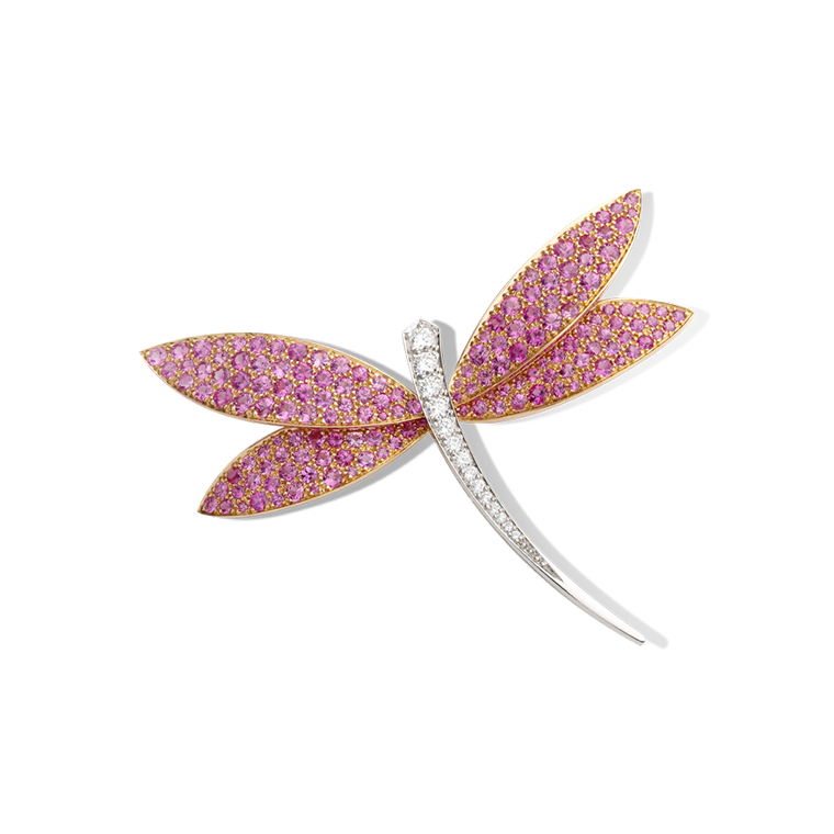 Van Cleef & Arpels pink gold Dragonfly clip with pink sapphires and diamonds (£23,300).