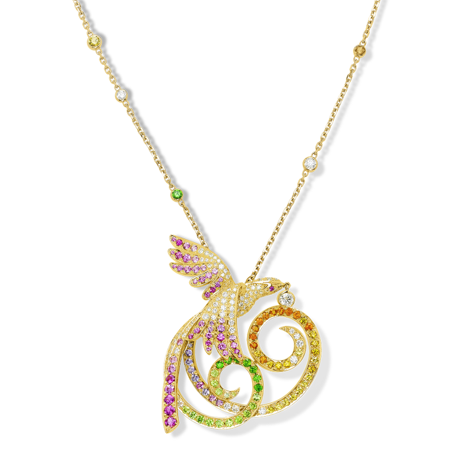Van Cleef & Arpels Oiseaux de Paradis pendant in yellow gold with multi-coloured gemstones (£34,000).