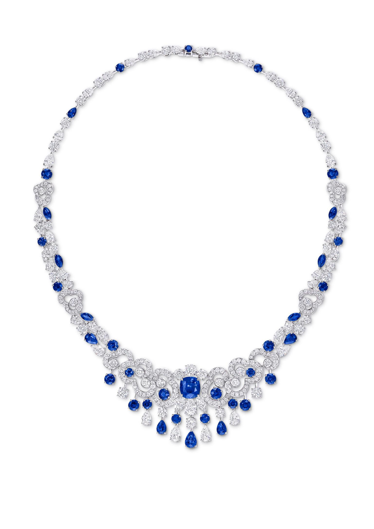 Graff's sapphire and diamond Nuage necklace captures the buoyancy and lightness of clouds in pavé diamonds scattered with bursting sapphire blooms.