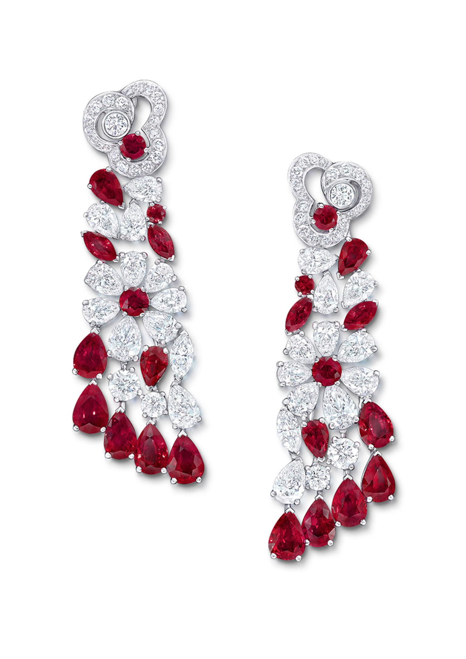 Graff Nuage collection drop earrings with rubies and diamonds in a minimal platinum setting.