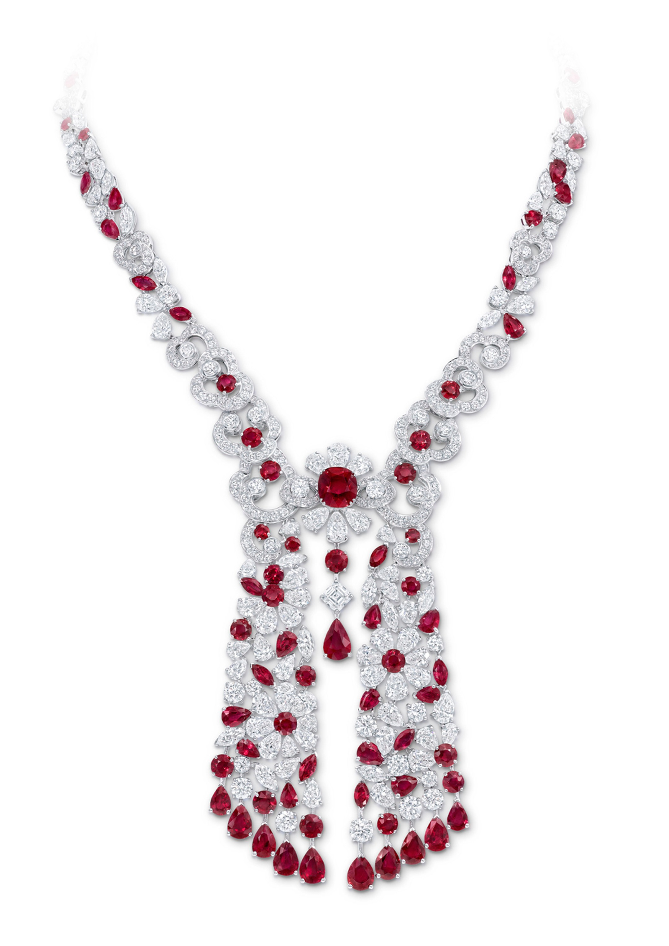 Graff Nuage collection ruby and diamond drop necklace.