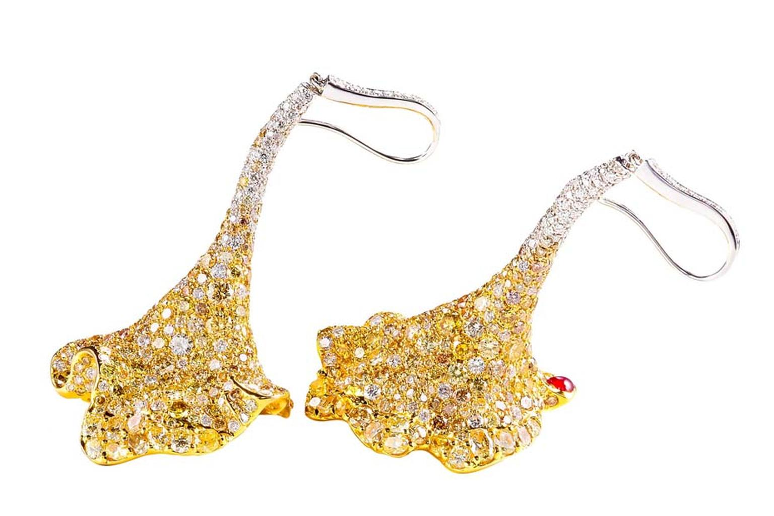 Chara Wen earrings with diamonds.