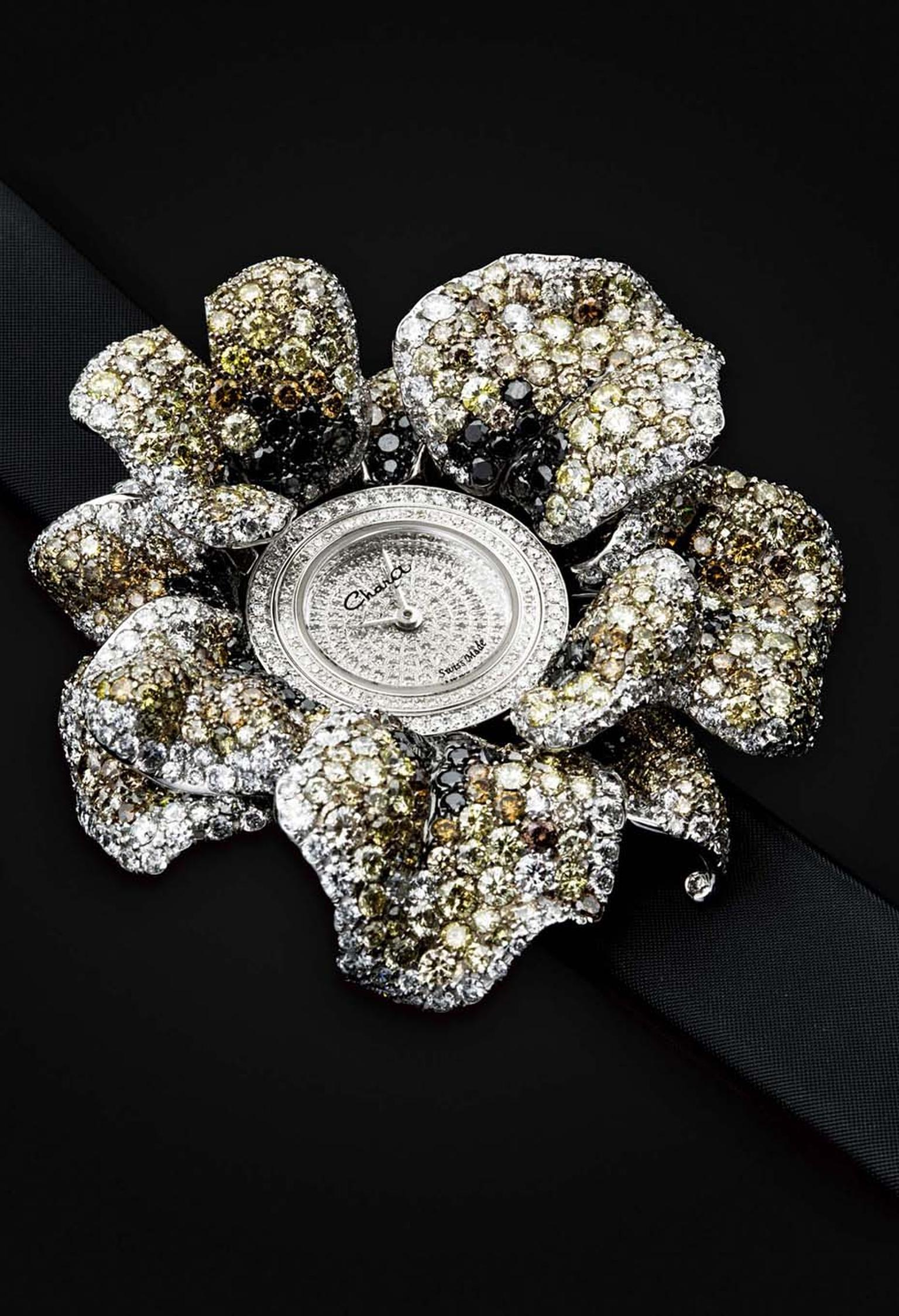 Chara Wen Life collection Flower watch featuring white, yellow and black diamonds.