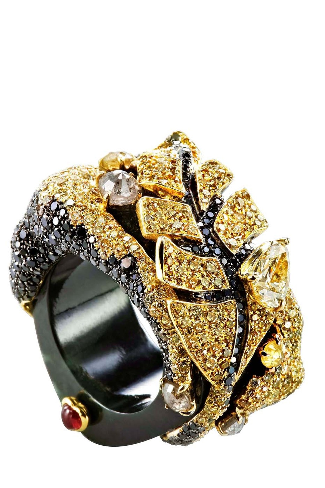 Chara Wen Life collection ring with yellow and black diamonds on a jade black band.