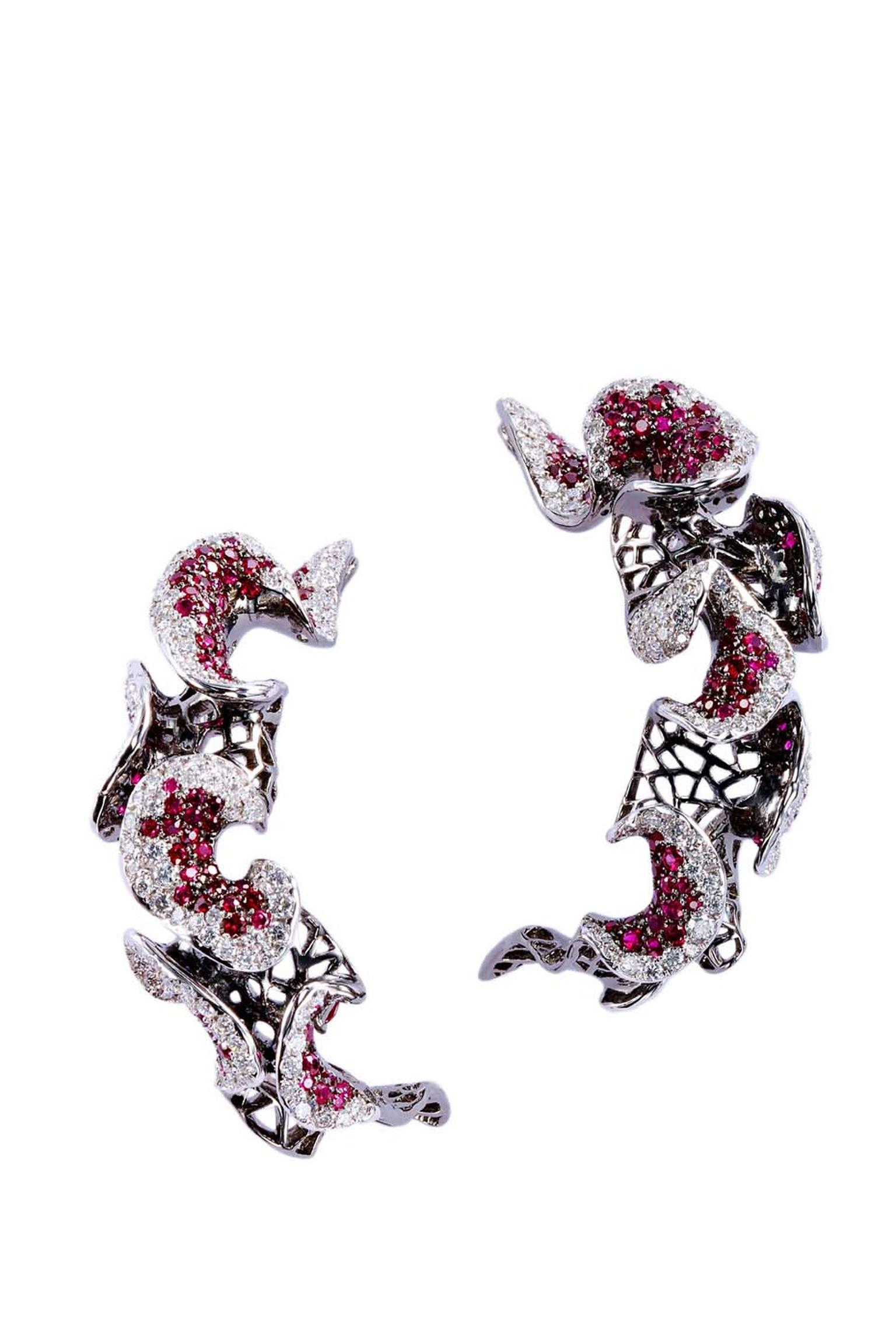Chara Wen Fashion Muse earrings with diamonds and rubies.