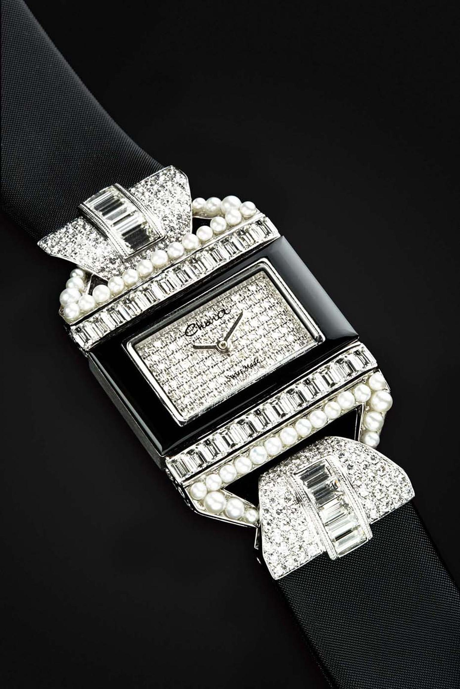 Chara Wen Life collection Flower watch featuring diamonds on the bezel and dial and pearls and diamonds on the lugs