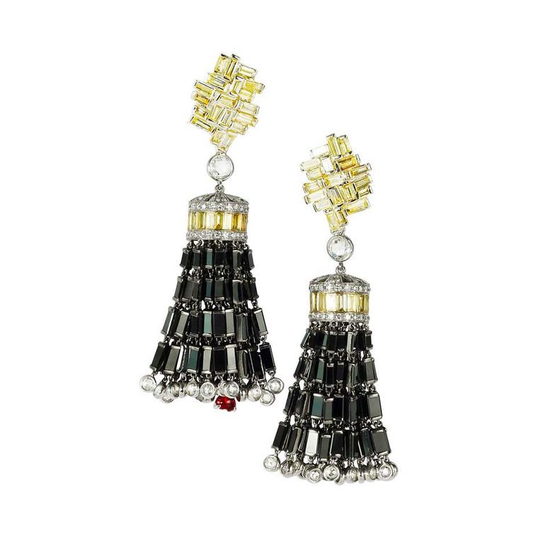 Chara Wen Eastern collection Black earrings with white, black and yellow diamonds and the brand's signature ruby.