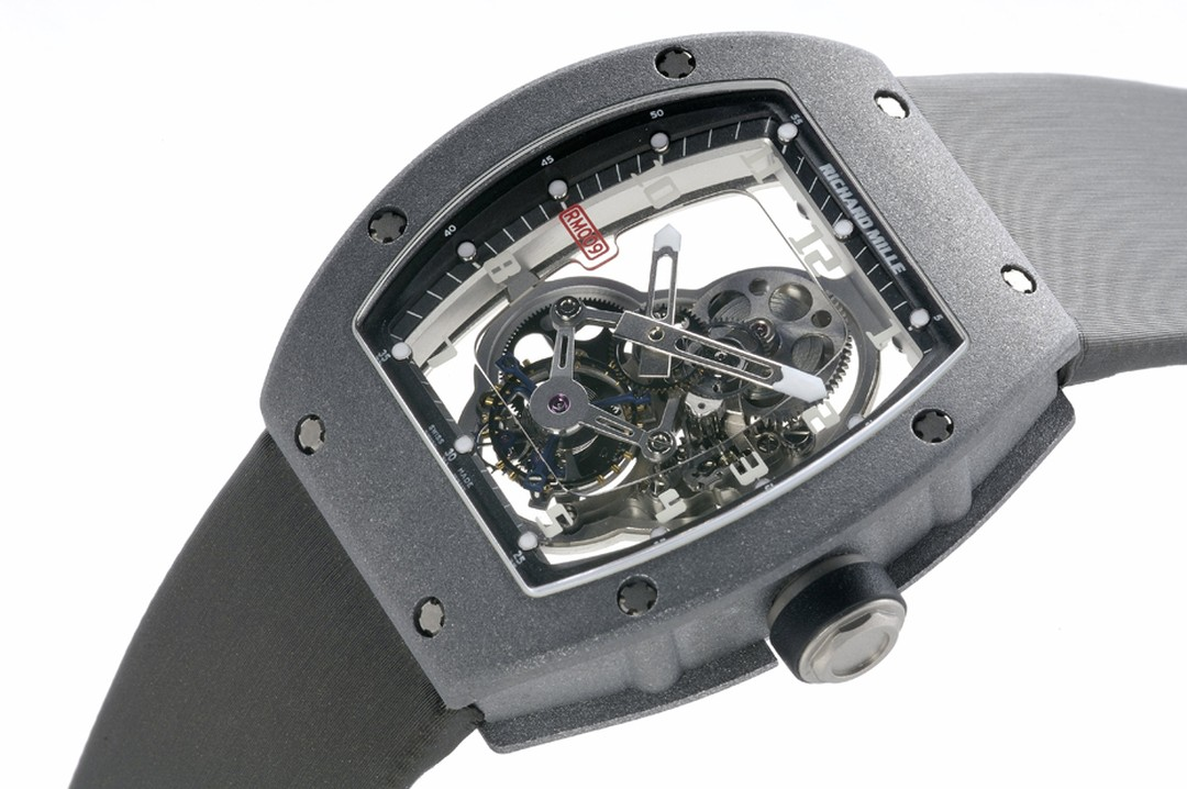 Richard Mille's RM009 watch is made from ALUSIC metal, a mixture of aluminum and silicium carbide particles, forged in a high-speed centrifugal furnace that confers lightness and resilience to the case.