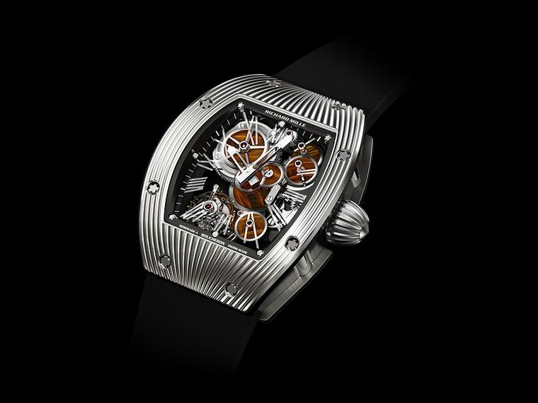 Richard Mille's RM018 Boucheron watch features a gear train comprised of wheels created from semi-precious stone. The research required for such innovation takes years, with dedicated teams of watchmakers and micro engineers.