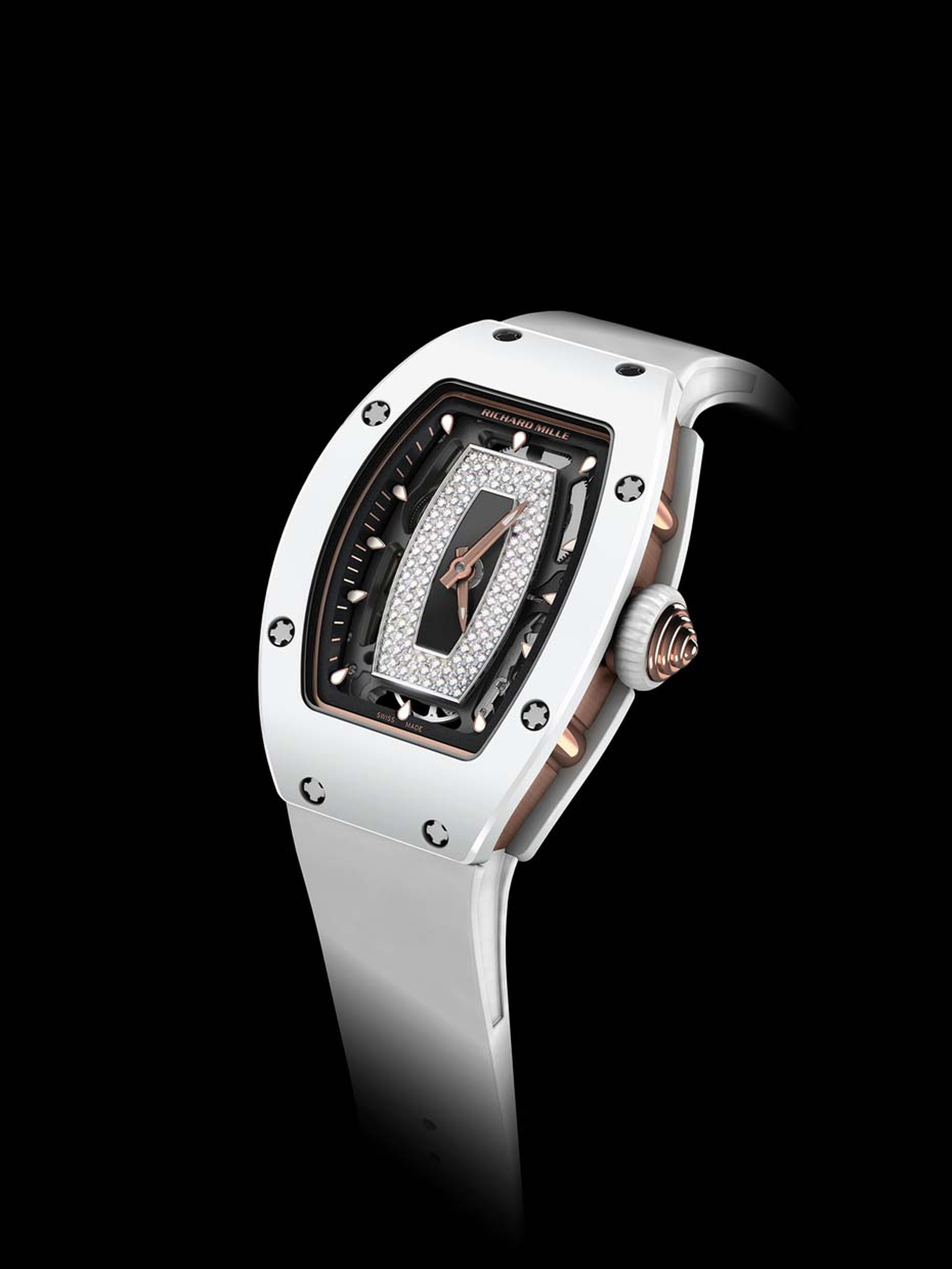 Another first for the Richard Mille ladies' collection, the RM07-01 tripartite case is available in a choice of white ATZ ceramic or warm brown TZP ceramic - both with a red gold case band, providing visual contrast and an extremely high level of scratch