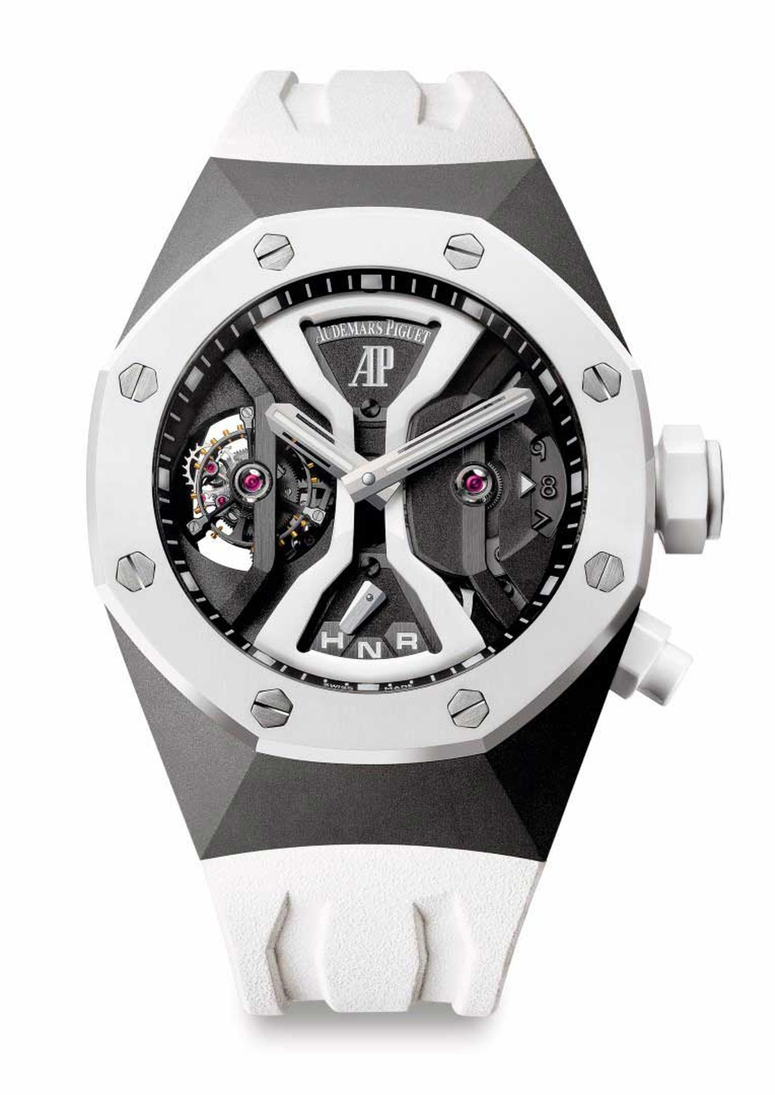 Audemars Piguet Royal Oak Concept GMT Tourbillon in white ceramic.