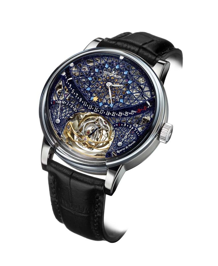 Jaeger-LeCoultre Hybris Artistica Collection Master Gyrotourbillon 1 watch simulates a stained-glass window and provides a peephole lattice over the extraordinary grand complication movement.