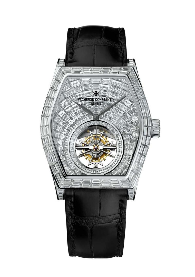 Vacheron Constantin Malte Tourbillion High Jewellery watch features 418 baguette-cut diamonds.