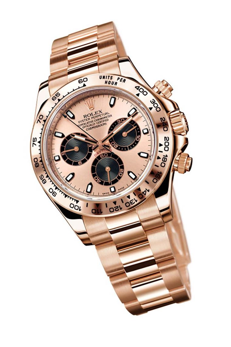 Rolex Cosmograph Daytona Everose watch with a rose gold dial and bracelet and black chronograph counters.
