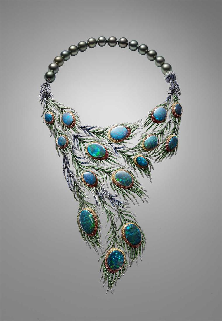 Part of a suite that includes earrings, a bangle and a ring, Alessio Boschi's Plumes necklace takes the peacock tail as its inspiration and uses 15 black opals as the centrepieces of cascading and movable feathers.