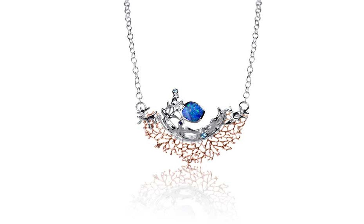 Keiko Uno Coral Garden necklace with opals, blue sapphires and blue topaz.