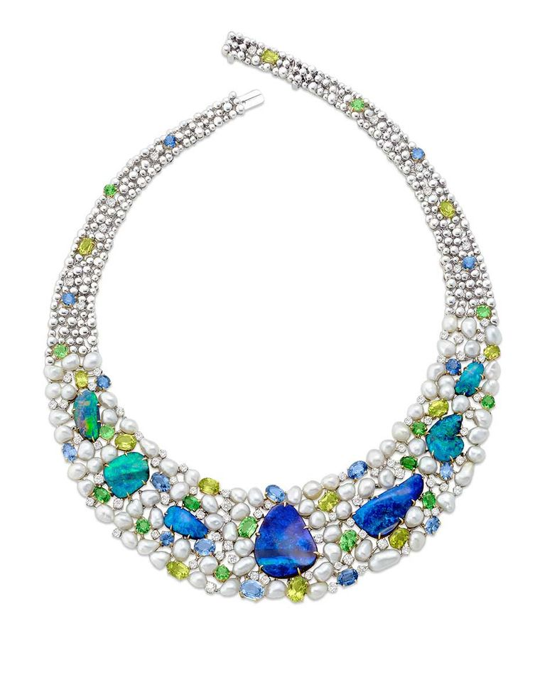 Margot McKinney Objects of Desire 130th anniversary collection necklace featuring black opals, Australian Keshi South Sea pearls, sapphires, aquamarines, peridot and a sprinkling of diamonds.