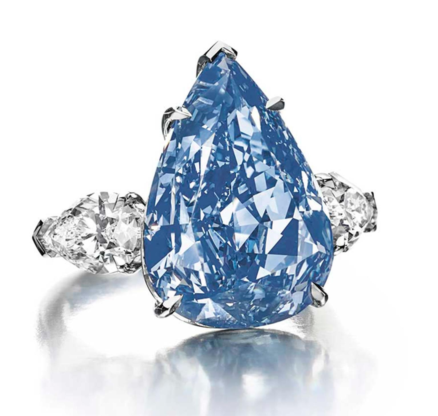 "Harry Winston's ""The Blue"" diamond, a 13.22ct Fancy vivid blue pear-shaped diamond, is the largest flawless Fancy vivid blue diamond in the world. It was renamed ""The Winston Blue"" by its owner, Harry Winston."
