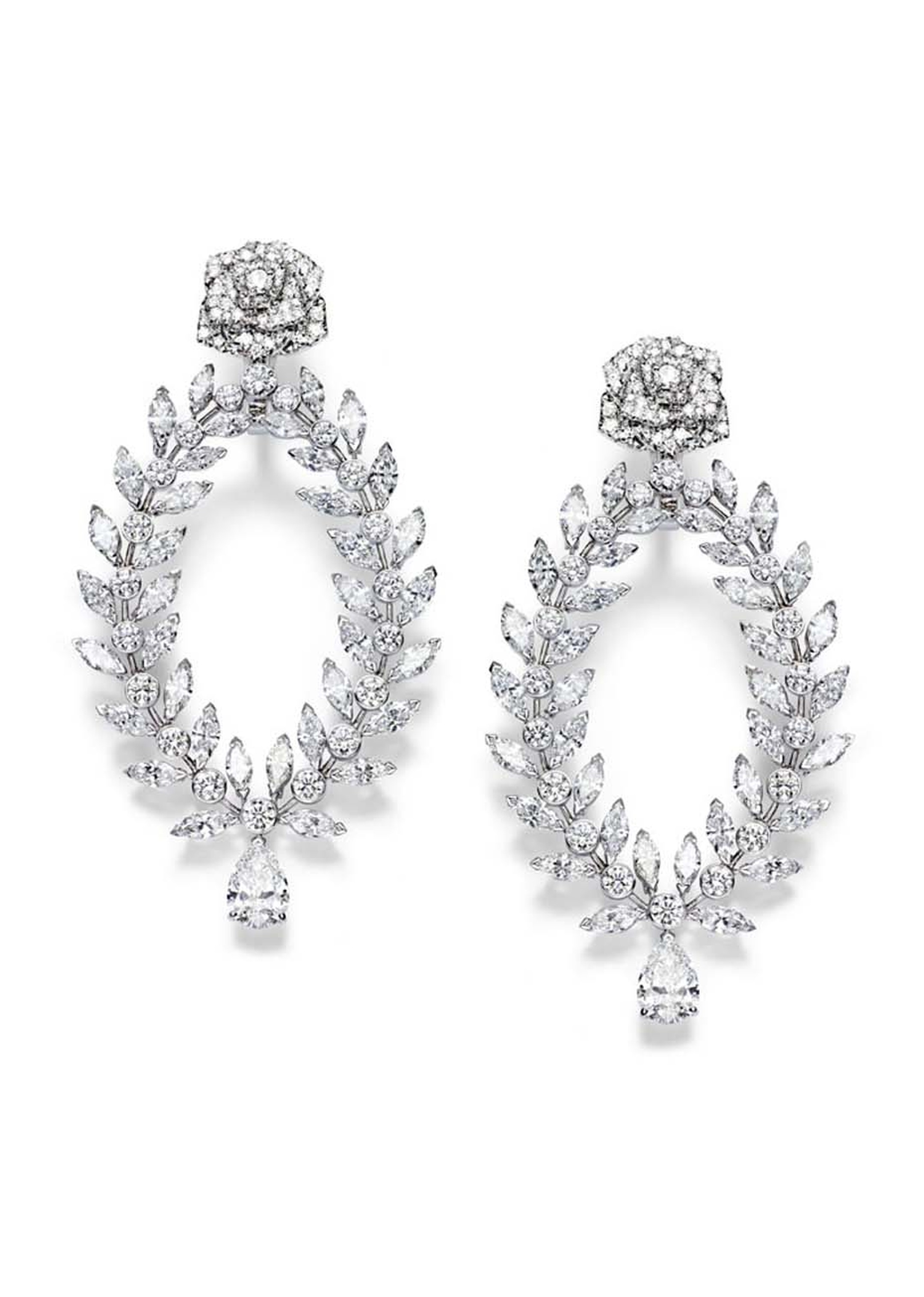 Piaget Rose diamond earrings also feature a stud in the shape of an exquisitely detailed rose.