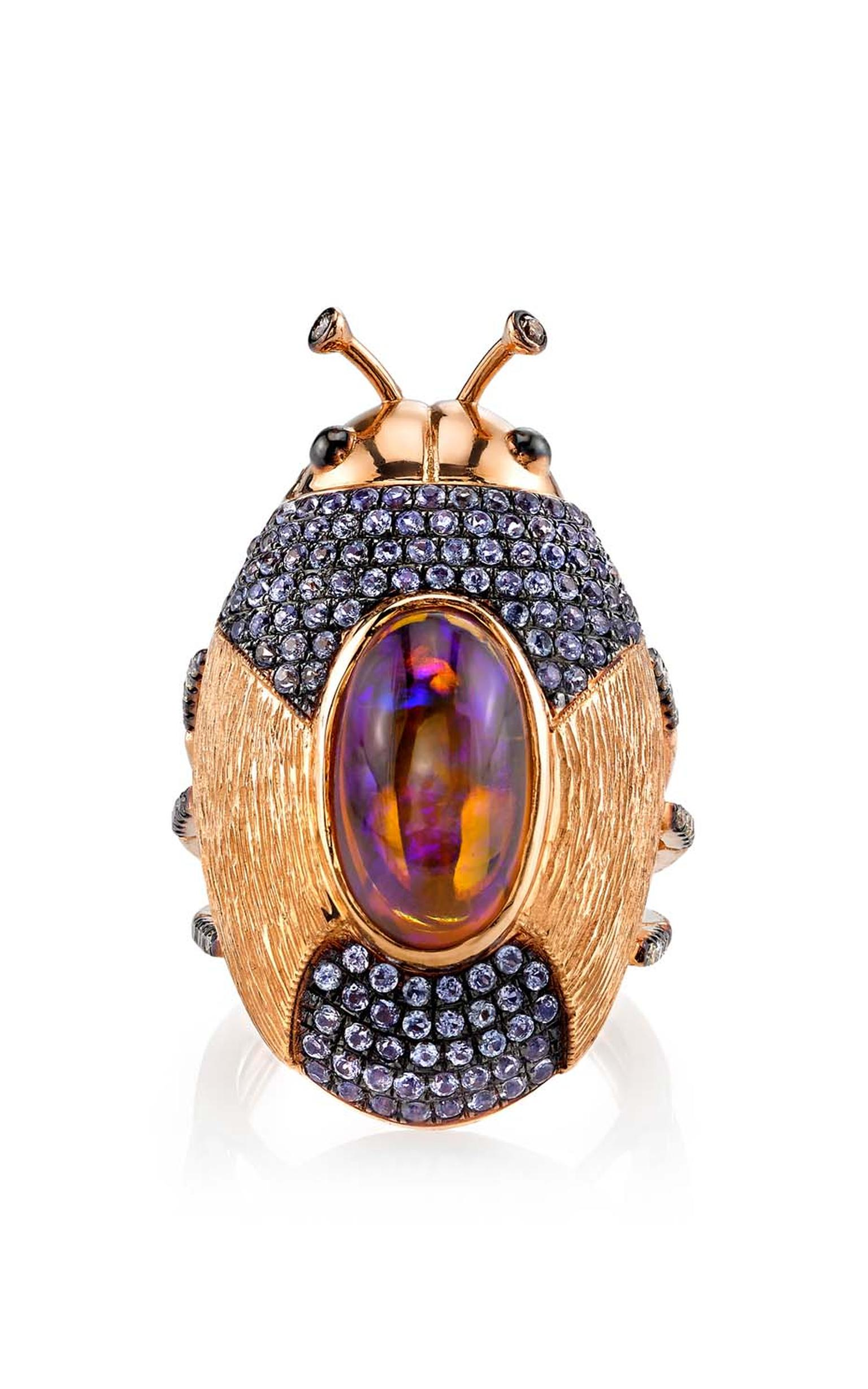 Daniela Villegas Anemoi ring with tanzanite, champagne diamonds and a central opal.