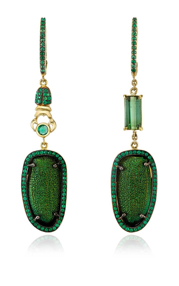 Daniela Villegas The Emerald City earrings, with chrysophora chrysochlora eytra, emeralds and green tourmaline, inspired by The Wizard of Oz, one of Daniela's favourite books.