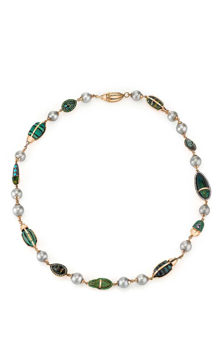 Daniela Villegas gold Heirloom necklace with alexandrite, white diamonds, emeralds, tsavorites, blue sapphires, garnet, South Sea pearls and turquoise.