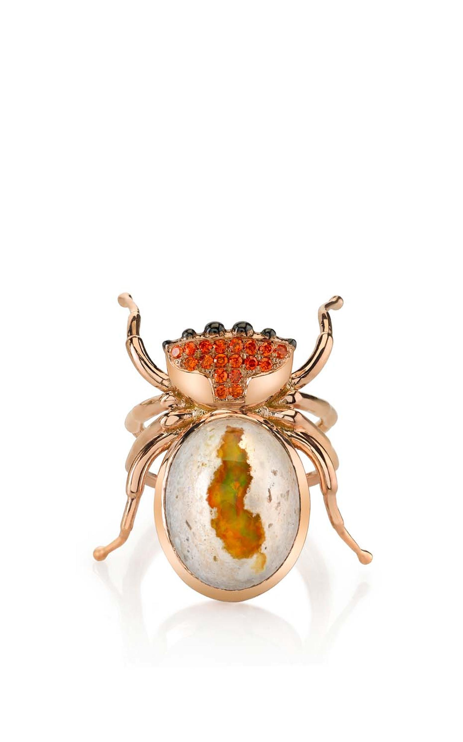Daniela Villegas rose gold Spider ring with spessartite garnet and Mexican opal.