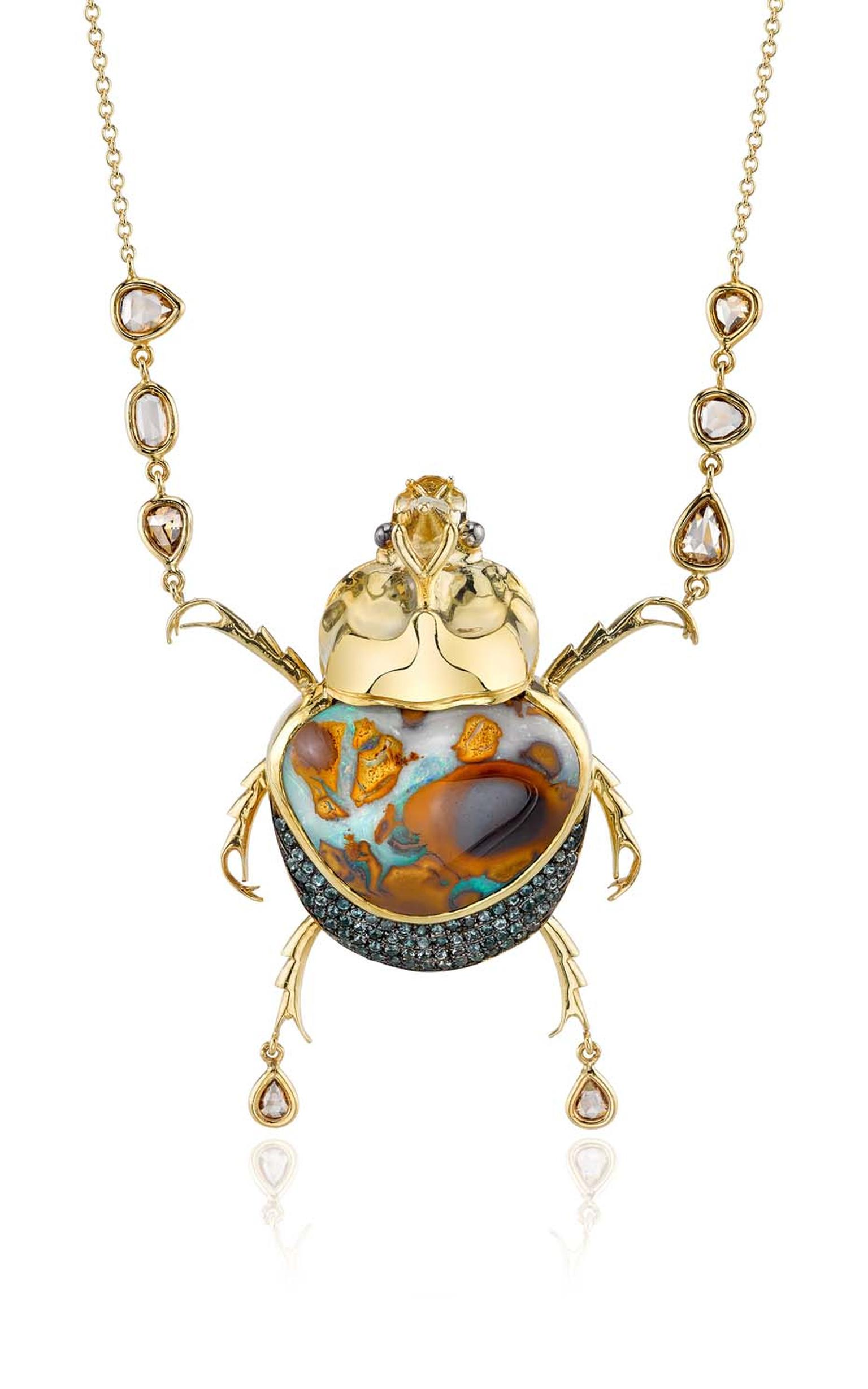 Daniela Villegas yellow gold Surfer necklace with garnet, champagne diamonds and a 27.12ct opal.