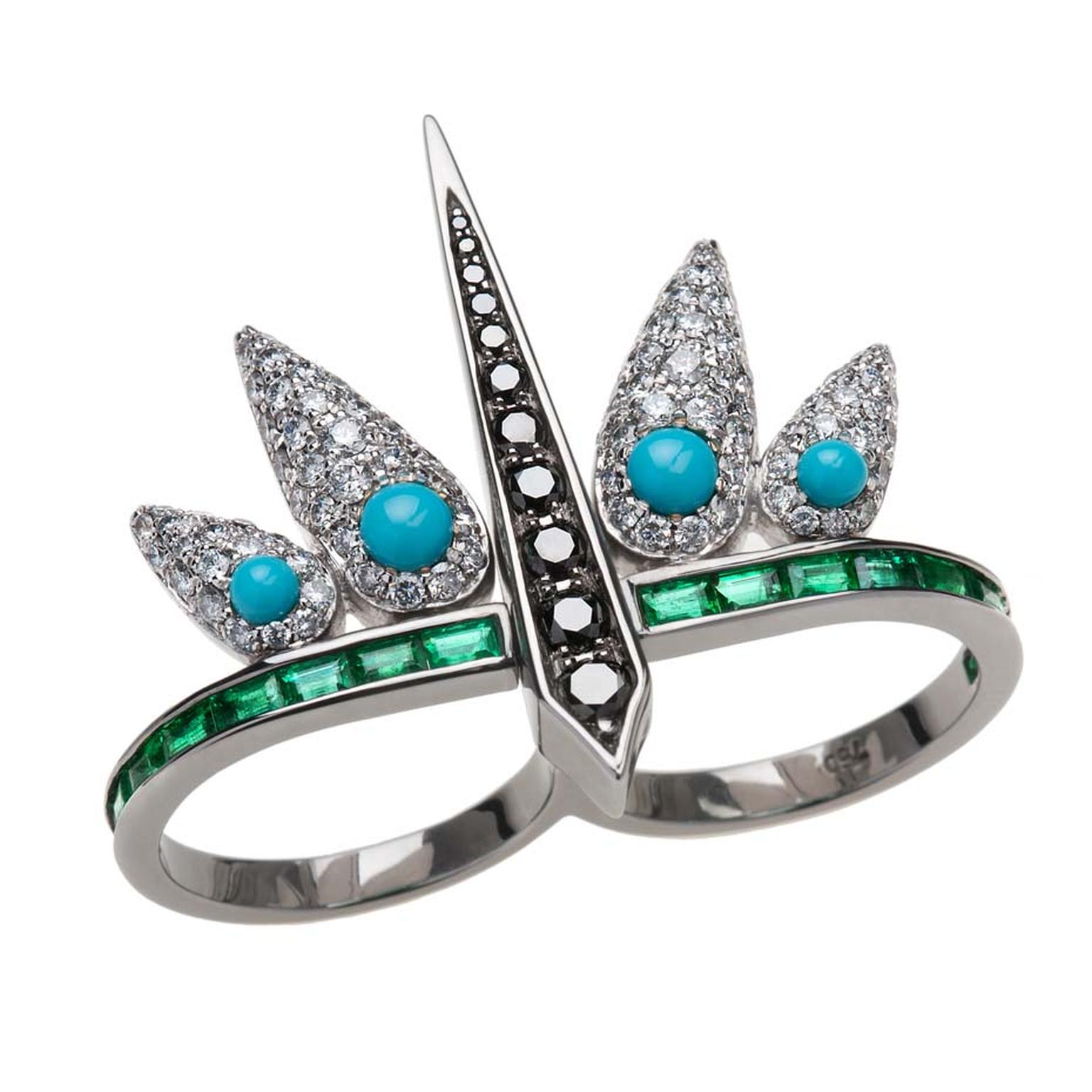 Nikos Koulis Spectrum collection ring with white and black diamonds, turquoises and baguette-cut emeralds.