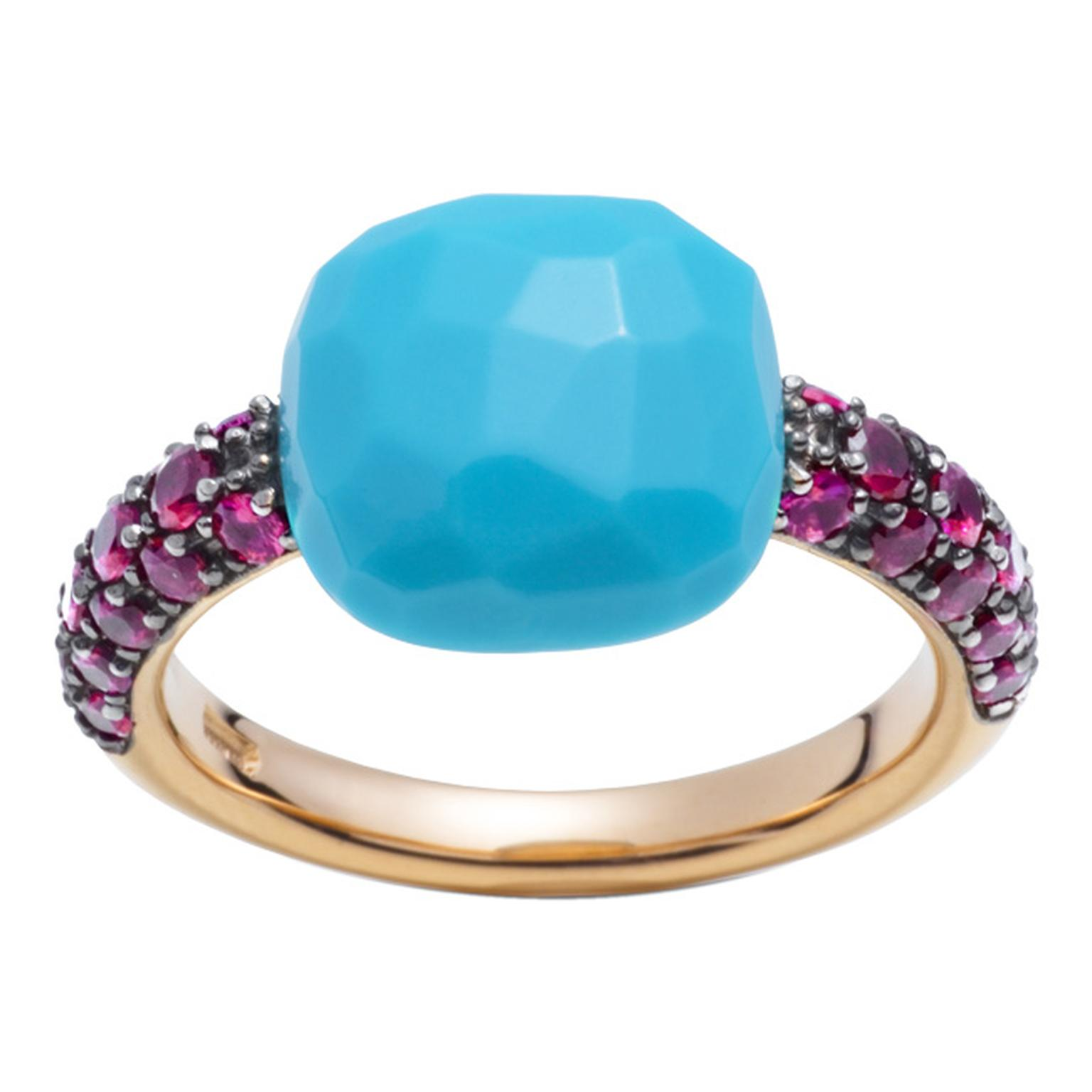 Pomellato Capri ring in rose gold with rubies and a cushion-cut turquoise.