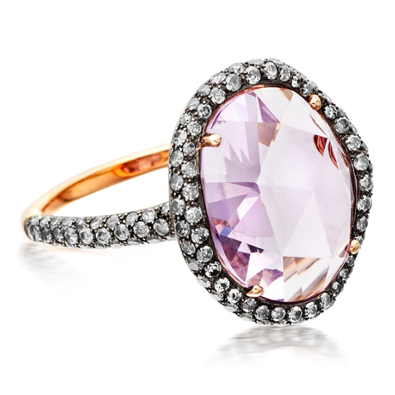 Astley Clark medium Fao ring featuring a central Rose de France amethyst and molten pavé diamonds.
