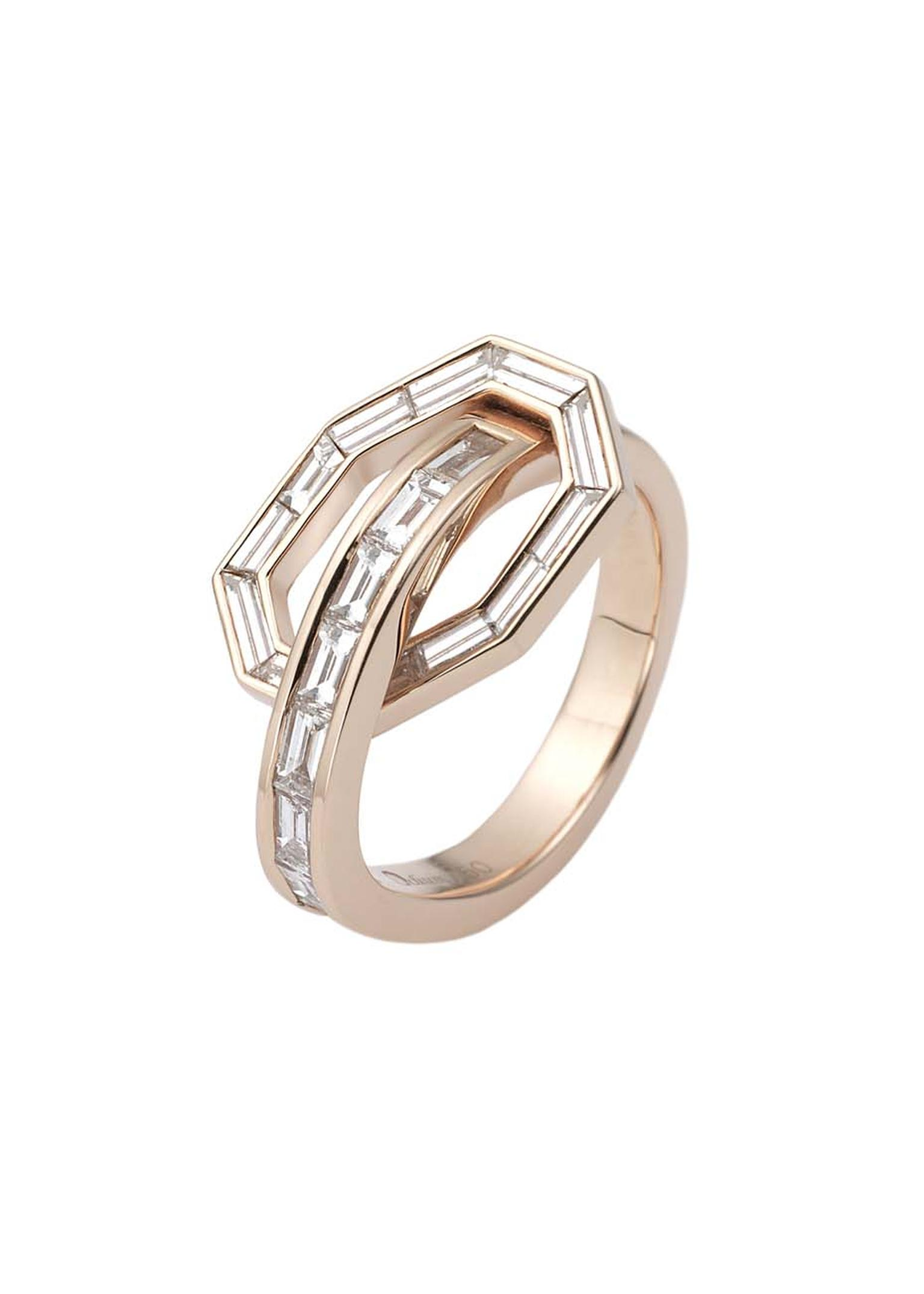 Octium rose gold ring with baguette-cut diamonds.