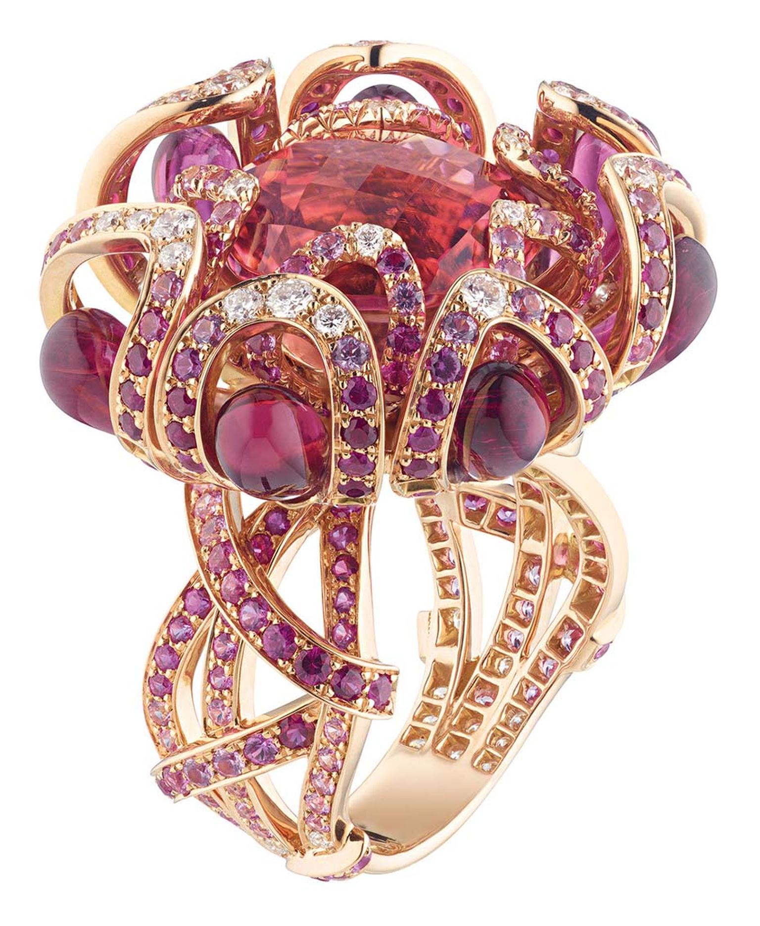 Chaumet Hortensia ring in pink gold, set with rubies, pink sapphires, diamonds, red tourmaline drops and an 8.60ct round faceted pink tourmaline in the centre.