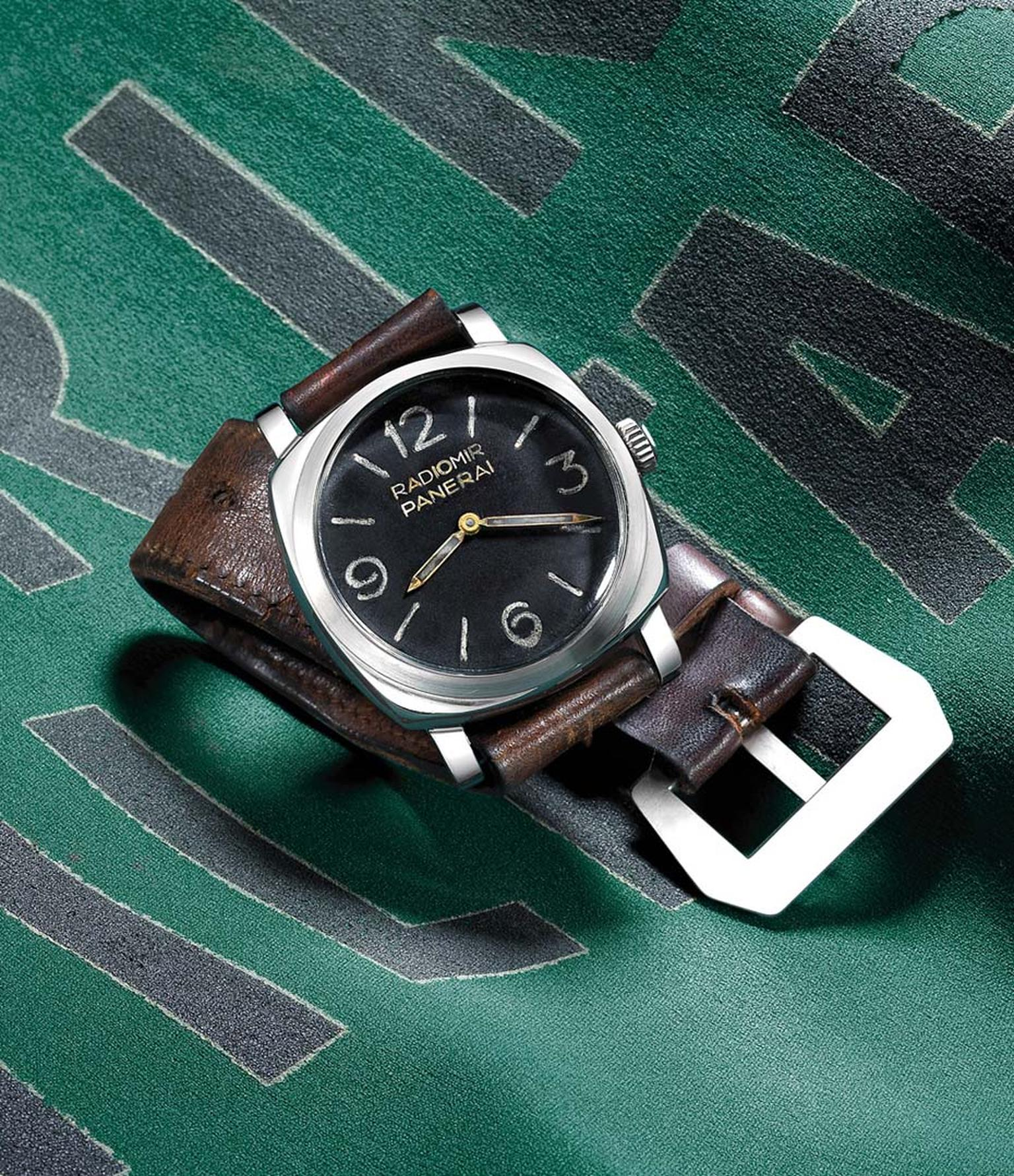 Featuring a large 45mm white gold cushion-shaped case, the Panerai Radiomir watch is the brand's latest tribute to the classic 1940 Radiomir.